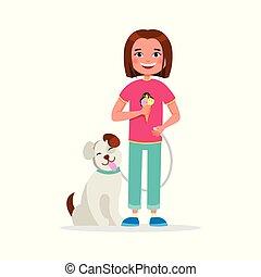 mignon, marche, concept, manger, plat, ensemble, avoir, isolé, glace, chien, arrière-plan., vecteur, illustration, amusement, crème, girl, amitié, blanc