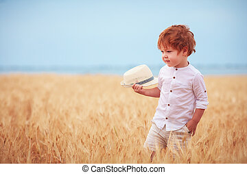 mignon, marche, vieux, mûre, garçon, deux, années, champ, par, roux, bébé, blé