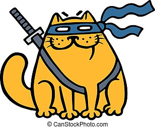 mignon, masque, gros chat, épée, ninja