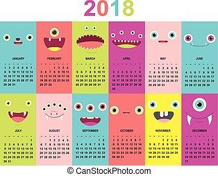 mignon, mensuel, 2018, faces, calendrier, monstres