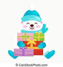 mignon, mitaines, bottes, gifts., réjouir, hiver, ours nounours, nouveau, chapeau, noël, heureux, séance, joie, illustration, fetes, chaud, écharpes, pendant, veille, année, vecteur, vêtements