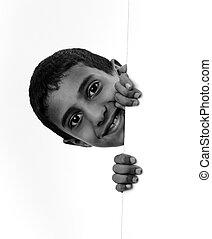 mignon, (mixed, garçon, race), américain africain, texte, blanc, bannière, ton