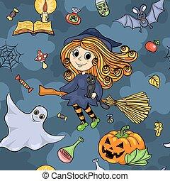 mignon, modèle, halloween, seamless, sorcière, dessin animé