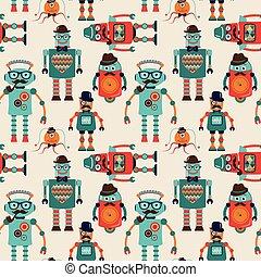mignon, modèle, robots, seamless, hipster, fond