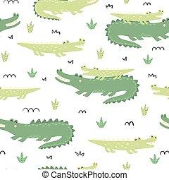 mignon, modèle, -, seamless, crocodiles, mère, bébé
