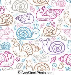 mignon, modèle, seamless, fond, sourire, escargots