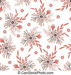 mignon, modèle, seamless, isolé, white., floral