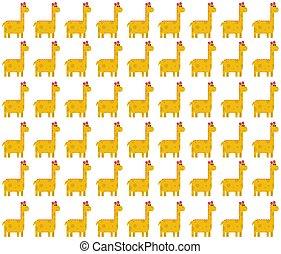 mignon, modèle, seamless, jaune, brontosaure, fond, blanc