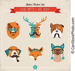 mignon, mode, animaux, &, hipster, animaux familiers