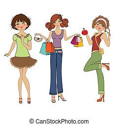 mignon, mode, filles, trois