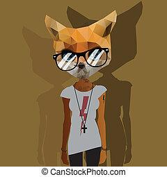 mignon, mode, hipster, animal
