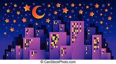 mignon, moderne, minuit, papier, conception, cityscape, ville, style, coupure, lune, time., étoiles, minimal, urbain, bâtiments, maisons, jeu, dessin animé, gosses, illustration, vecteur, vie nuit