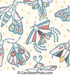 mignon, moth, lunes, figure, nuit, sourire, dessin animé, heureux