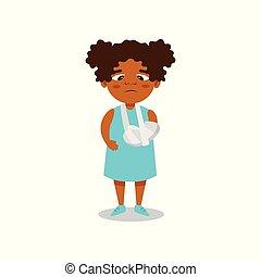 mignon, moule, plâtre, illustration, bras, cassé, américain, vecteur, fond, africaine, blanc, girl
