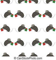 mignon, mouse., suitable, chinois, fête, modèle, symbole, gifts., emballage, seamless, ou, paper., rat, year., fond, année, nouveau, blanc, s, souris, échange