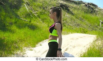 mignon, muscles, athlétique, femme, kneads, exercice, avant