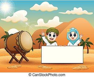 mignon, musulman, signe, tenue, vide, déserter paysage, gosse