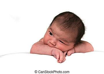 mignon, nourrisson, isolé, fond, bébé, blanc, girl