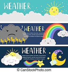 mignon, nuages, soleil, lune, vecteur, gabarit, temps, bannières, dessin animé