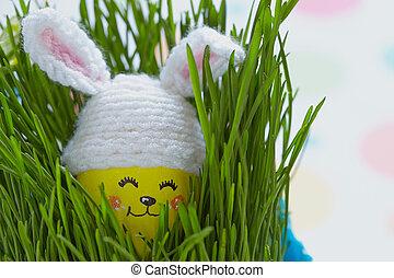 mignon, oeuf, décoration, lapin pâques, chapeau