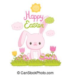 mignon, oeufs, lapin, herbe, fleurs, paques, dessin animé, heureux