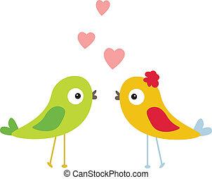 mignon, oiseau, à, amour
