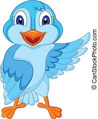 mignon, oiseau bleu, dessin animé, onduler