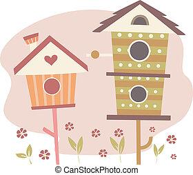 mignon, oiseau, maisons