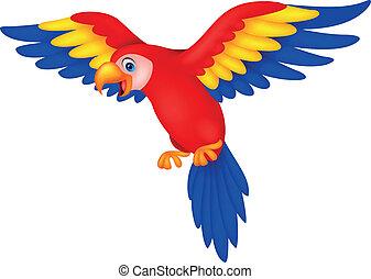 mignon, oiseau, perroquet, dessin animé