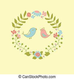 mignon, ou, couronne, salutation, invitation, conception, mariage, floral, couple., oiseaux, carte