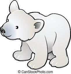 mignon, ours blanc, vecteur, illustration