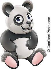 mignon, ours, dessin animé, animal, panda