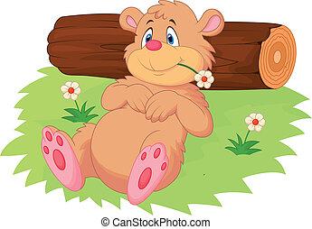 mignon, ours, dessin animé, délassant