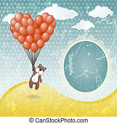 mignon, ours peluche, à, a, balloon