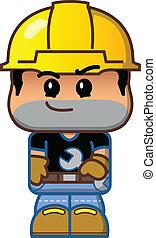 mignon, ouvrier construction, dessin animé