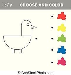 mignon, pédagogique, coloration, jeu, illustration, duck., vecteur, dessin animé, kids.
