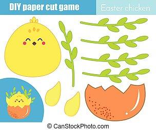 mignon, pédagogique, coupure, game., faire, enfants, créatif, papier, ciseaux, poulet, colle, paques, activity.