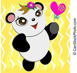 mignon, panda, coeur