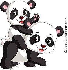 mignon, panda, dessin animé