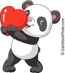 mignon, panda rouge, coeur