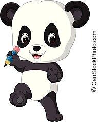 mignon, panda, tenue, crayon
