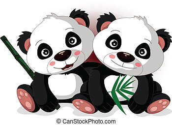 mignon, panda's, dessin animé, frère
