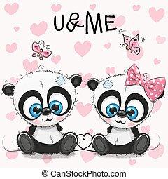 mignon, pandas, deux, fond, cœurs