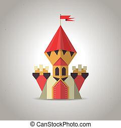 mignon, paper., plié, origami, château, icon.