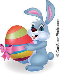 mignon, paques, dessin animé, lapin, tenue