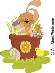 mignon, paques, illustration, lapin