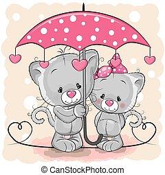 mignon, parapluie, chatons, deux, pluie, sous