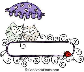 mignon, parapluie, couple, vide, hiboux, sous, bannière