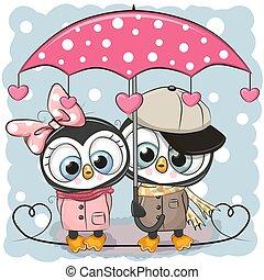 mignon, parapluie, deux, pluie, pingouins, sous