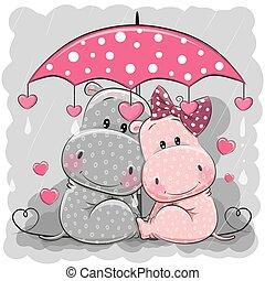 mignon, parapluie, deux, pluie, sous, hippopotames